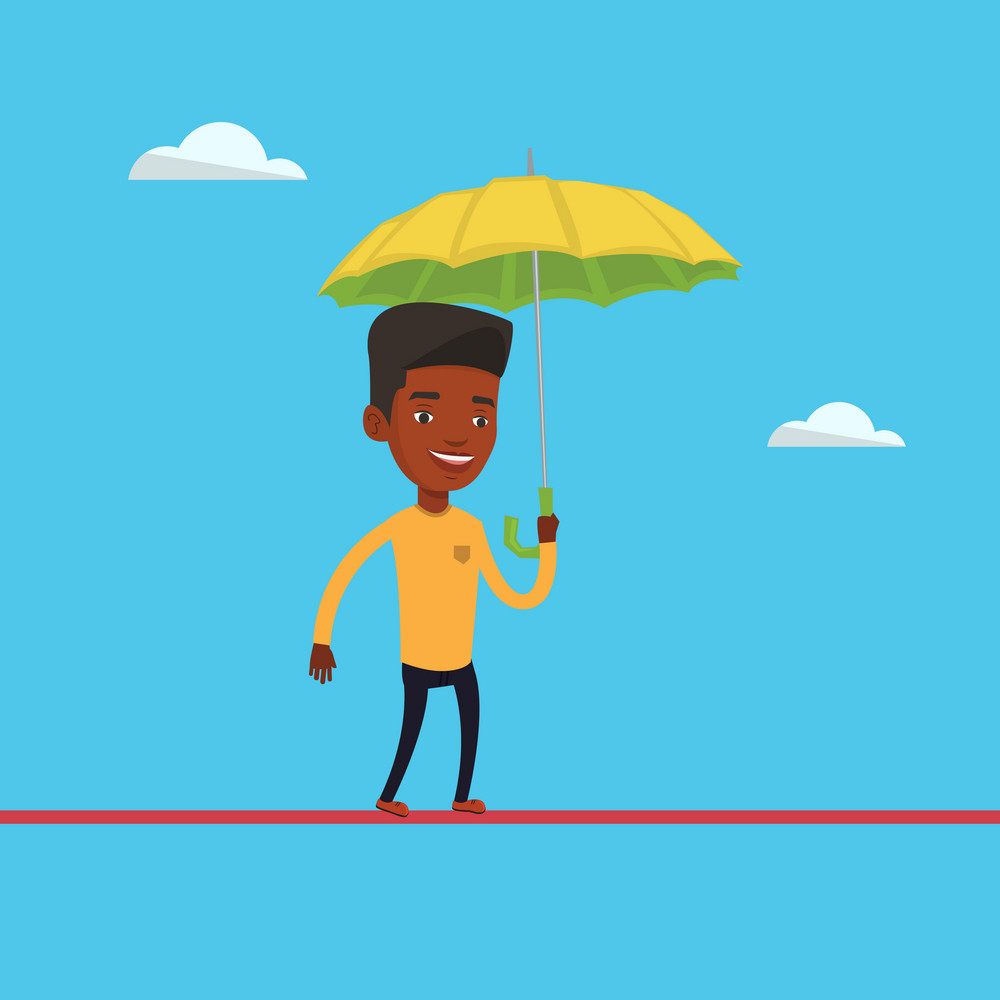 African-american risky businessman walking across a high rope with umbrella in hand. Risky businessman balancing on a tightrope. Business risk concept. Vector flat design illustration. Square layout.