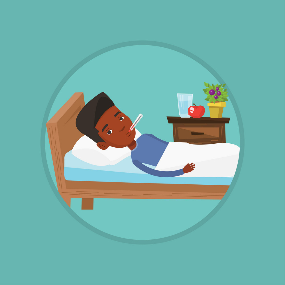 African-american sick man with fever laying in bed. Sick man measuring temperature with thermometer. Sick man suffering from cold. Vector flat design illustration in the circle isolated on background.