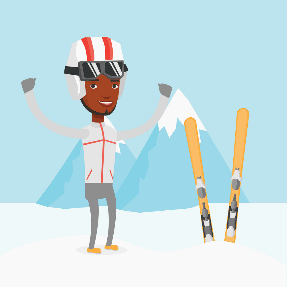 African-american skier standing with skis on the background of mountains. Young sportsman skiing. Happy skier resting in the mountains during sunny day. Vector flat design illustration. Square layout.