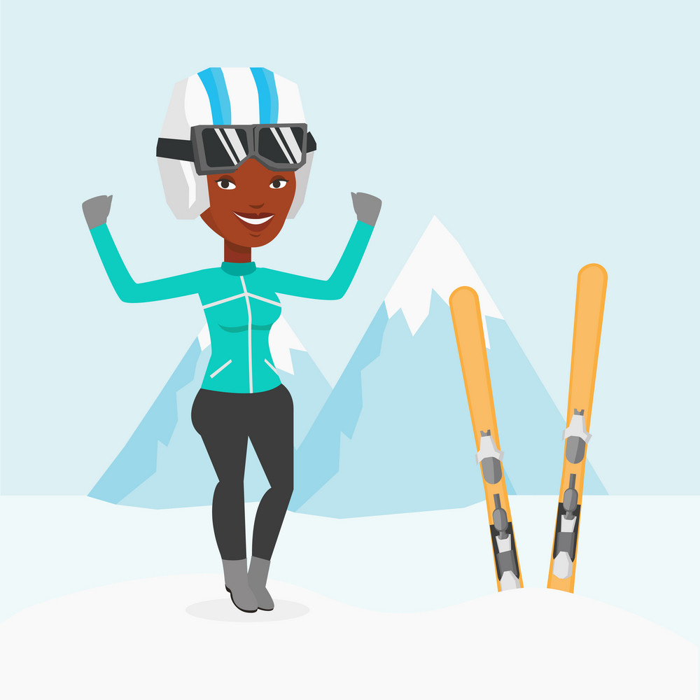 African-american skier standing with skis on the background of mountains. Young sportswoman skiing. Skier resting in the mountains during sunny day. Vector flat design illustration. Square layout.