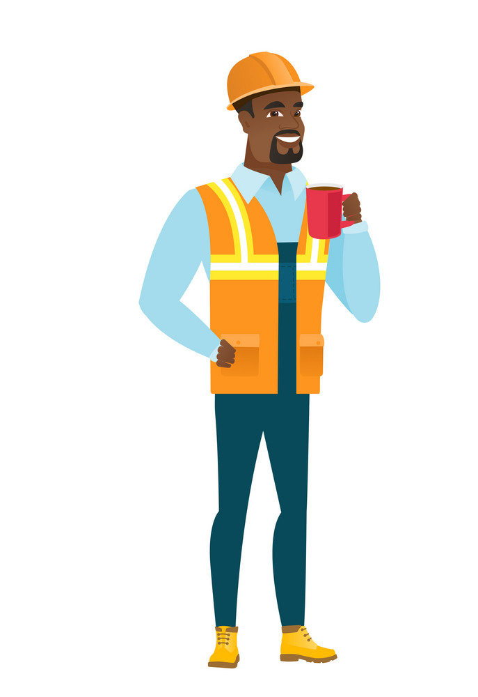 African-american smiling builder holding cup of coffee. Full length of young builder drinking coffee. Happy builder with cup of coffee. Vector flat design illustration isolated on white background.
