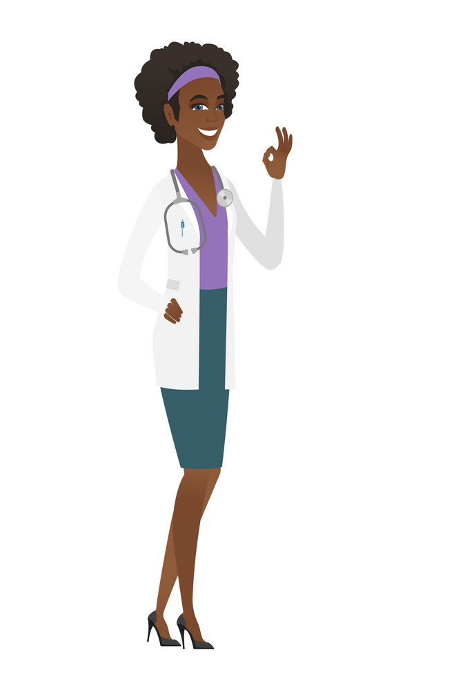 African-american smiling doctor in medical gown showing ok sign. Young doctor making ok sign. Successful happy doctor gesturing ok sign. Vector flat design illustration isolated on white background.