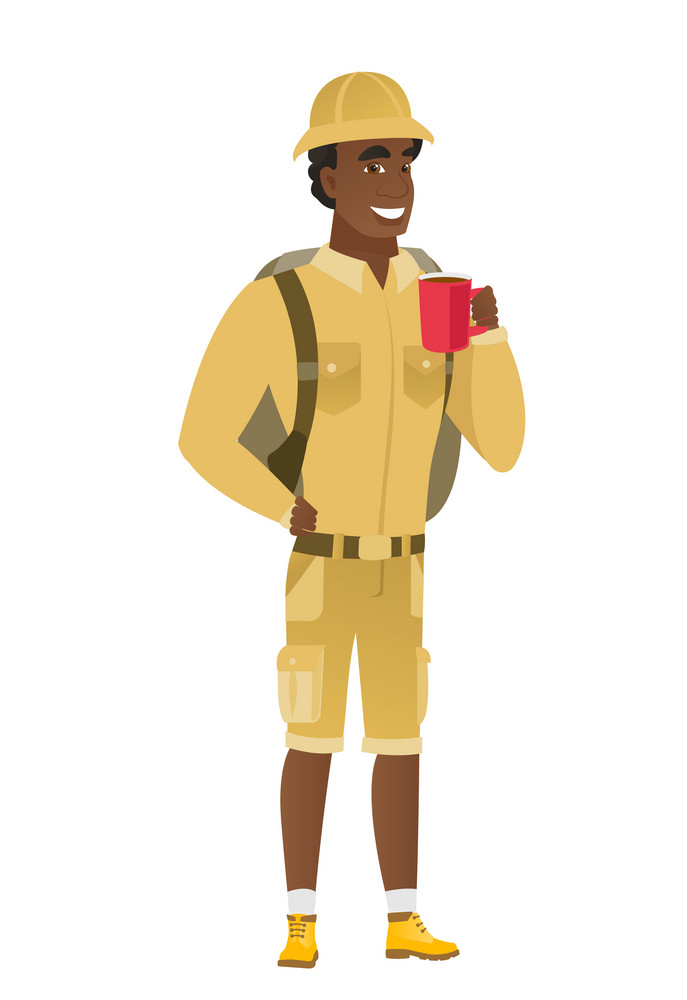 African-american smiling traveler holding cup of coffee. Full length of young traveler drinking coffee. Happy traveler with cup of coffee. Vector flat design illustration isolated on white background.