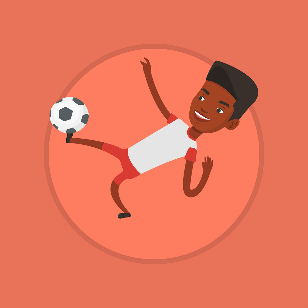 African-american soccer player kicking ball during game. Soccer player juggling with ball. Soccer player playing with soccer ball. Vector flat design illustration in the circle isolated on background.