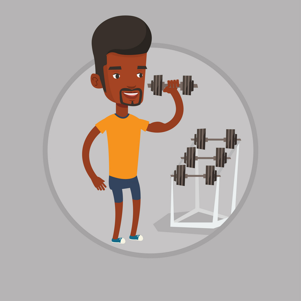 African-american sportsman doing exercise with dumbbell. Young man lifting a heavy weight dumbbell. Weightlifter holding dumbbell. Vector flat design illustration in the circle isolated on background.