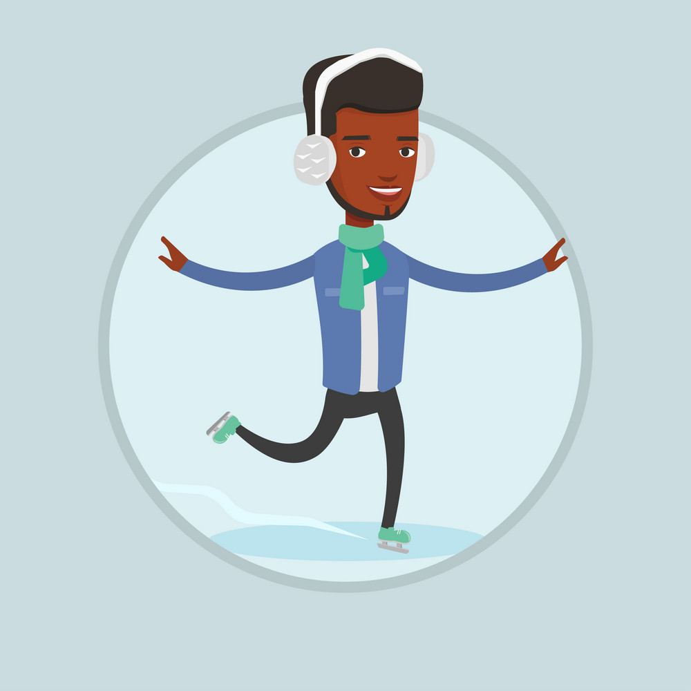 African-american sportsman ice skating. Young smiling man ice skating. Man at skating rink. Male figure skater posing on skates. Vector flat design illustration in the circle isolated on background.