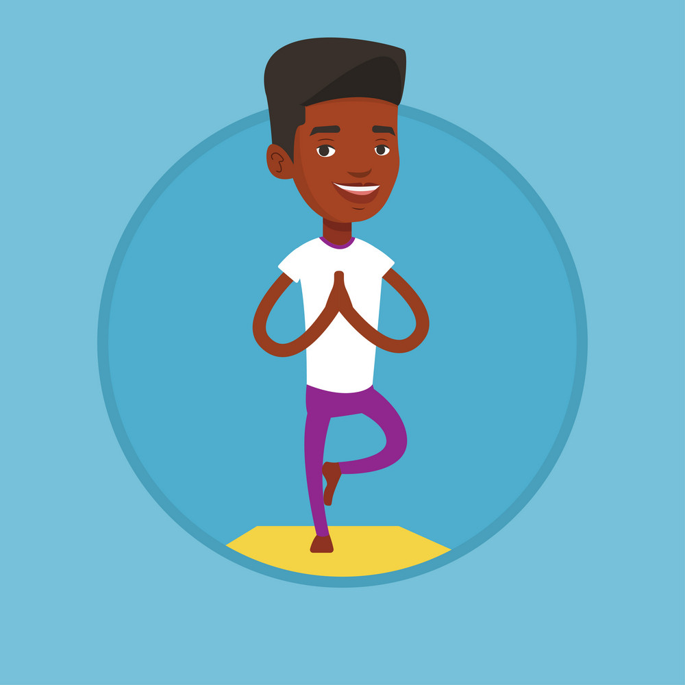 African-american sportsman meditating in yoga tree position. Sportsman standing in yoga tree pose. Young man doing yoga on the mat. Vector flat design illustration in the circle isolated on background