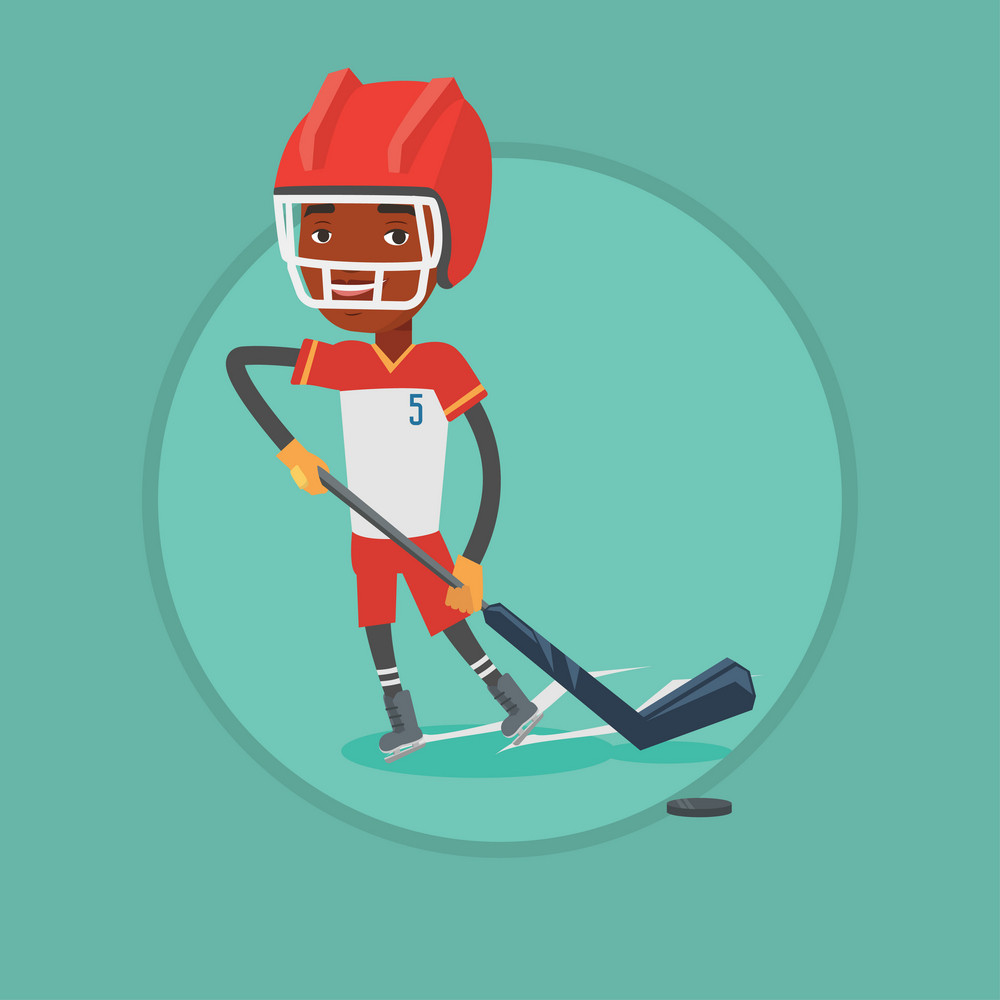 African-american sportsman playing ice hockey. Ice hockey player in uniform skating on rink. Ice hockey player with stick and puck. Vector flat design illustration in the circle isolated on background