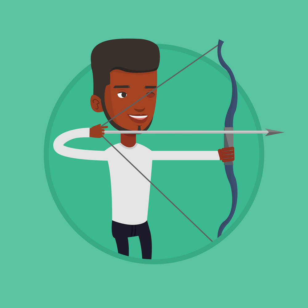 African-american sportsman practicing in archery. Sportive man training with the bow. Archery player aiming with a bow in hands. Vector flat design illustration in the circle isolated on background.