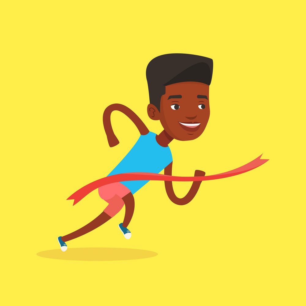 African-american sportsman running through finishing line. Winner crossing finishing line. Sprinter breaking the finishing line. Man winning marathon. Vector flat design illustration. Square layout.