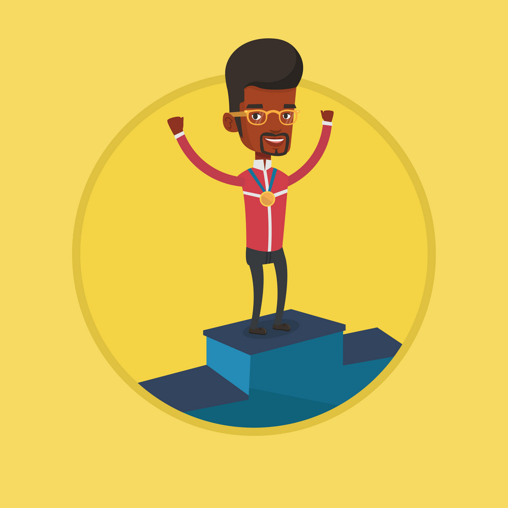 African-american sportsman with gold medal and raised hands standing on the winners podium. Man celebrating on the winners podium. Vector flat design illustration in the circle isolated on background.