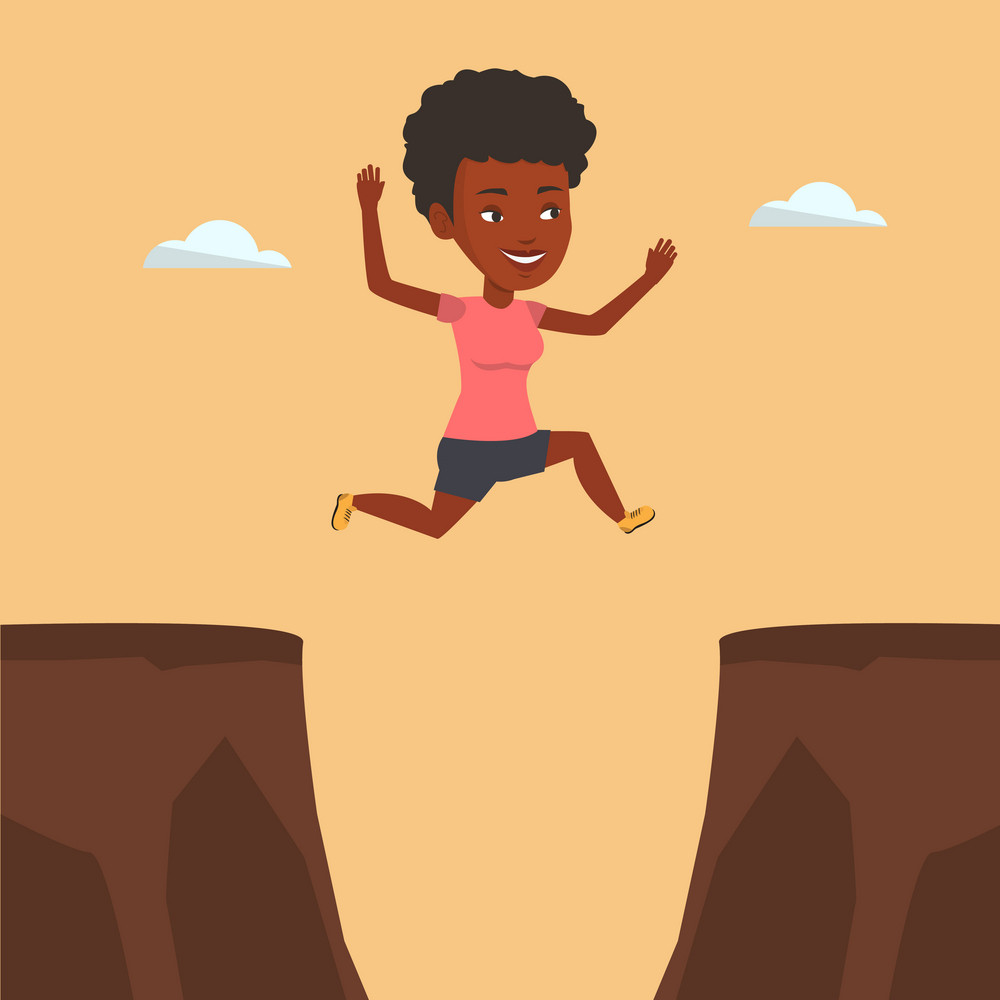 African-american sportswoman jumping across the gap from one rock to another. Happy sportswoman jumping over rocks with gap. Young sportswoman jumping. Vector flat design illustration. Square layout.
