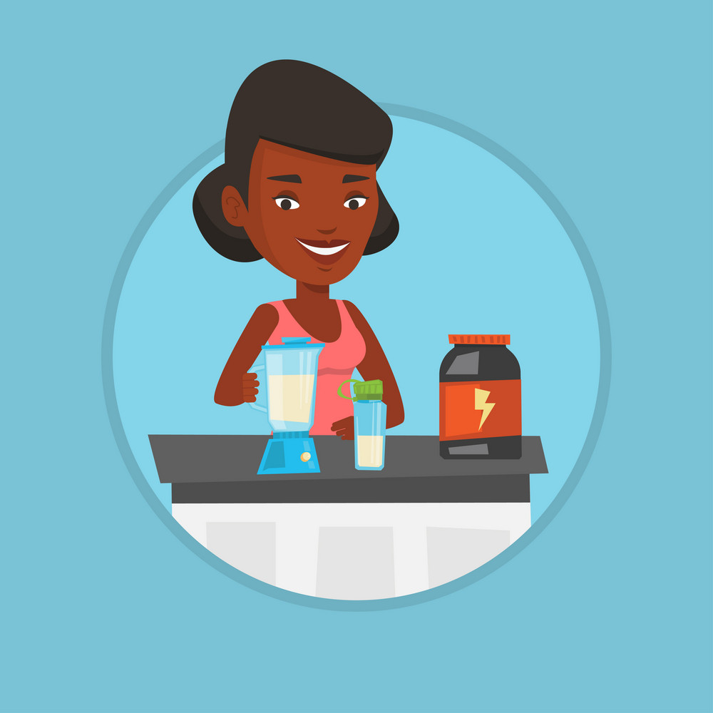 African-american sportswoman making protein shake using blender. Woman preparing protein cocktail of bodybuilding food supplements. Vector flat design illustration in the circle isolated on background
