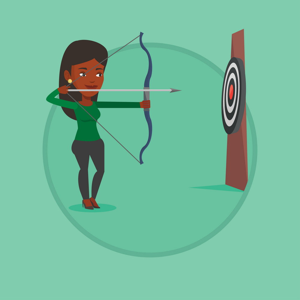 African-american sportswoman practicing in archery. Sportive woman training with the bow. Archery player aiming with bow in hands. Vector flat design illustration in the circle isolated on background.