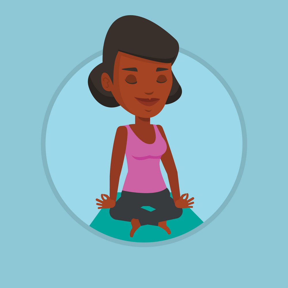 African-american sportswoman relaxing in the yoga lotus position. Woman meditating in yoga lotus pose. Woman doing yoga on the mat. Vector flat design illustration in the circle isolated on background