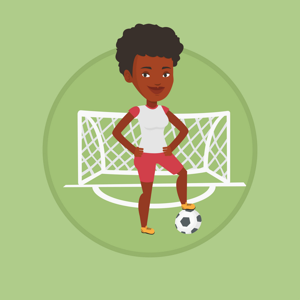 African-american sportswoman standing with football ball on the stadium. Football player standing with a soccer ball on the field. Vector flat design illustration in the circle isolated on background.
