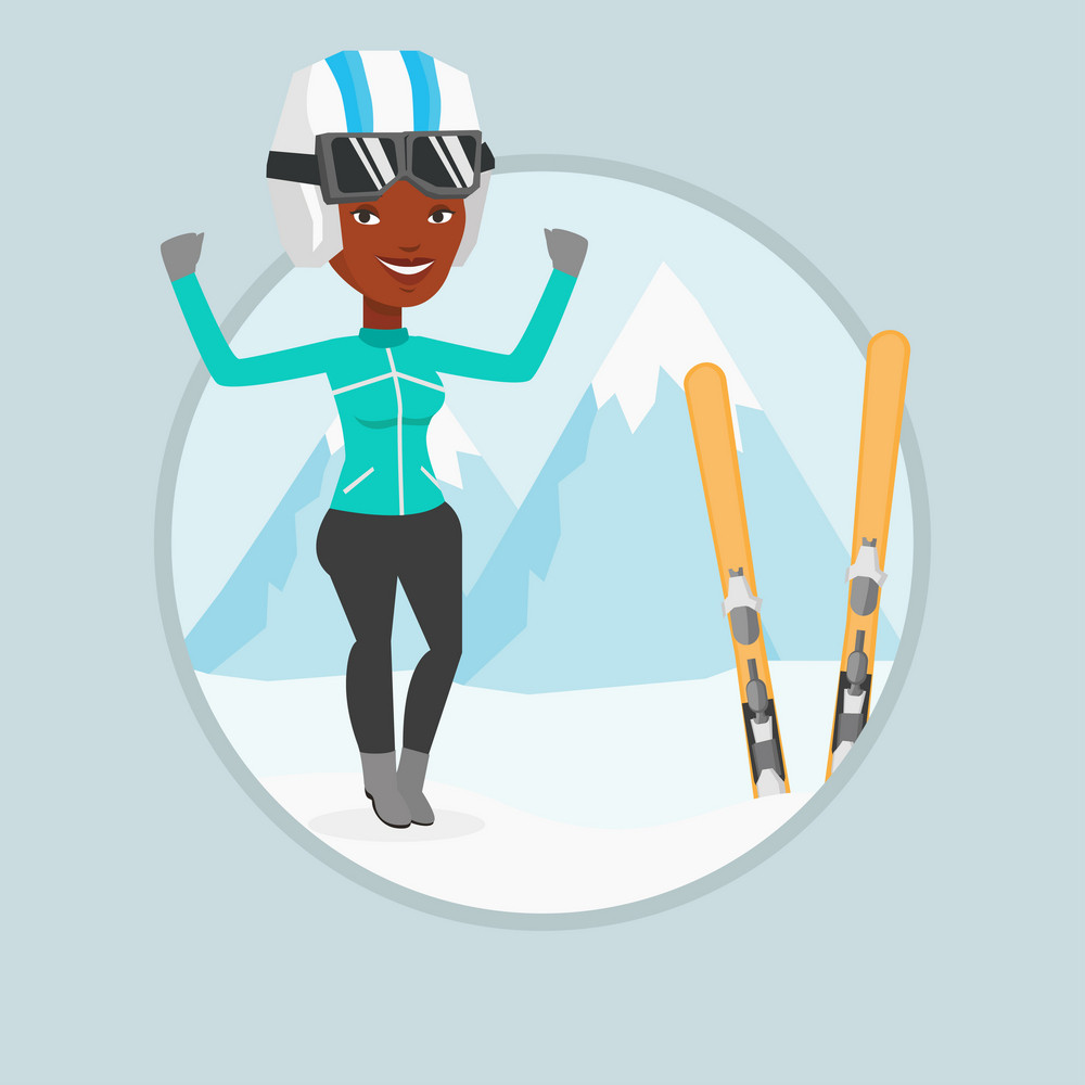 African-american sportswoman standing with skis on the background of mountains. Young woman skiing. Skier resting in the mountains. Vector flat design illustration in the circle isolated on background