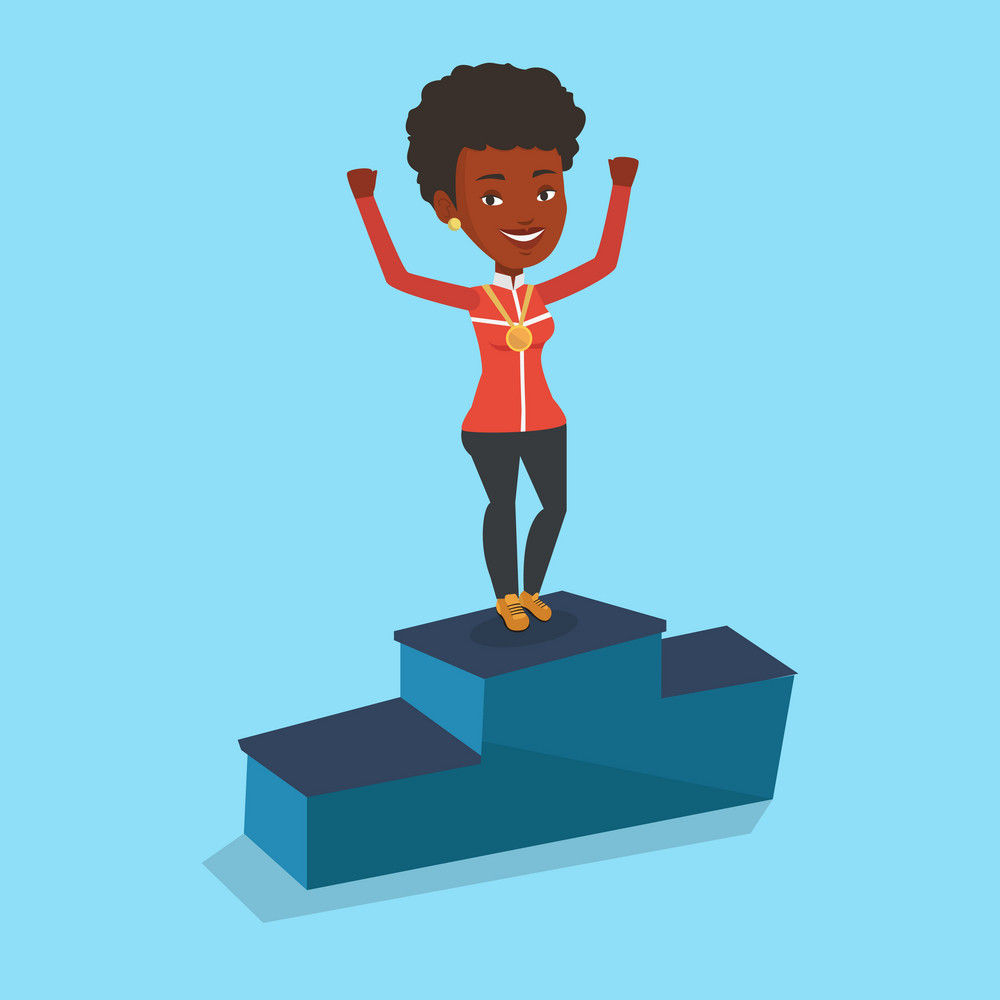 African-american sportswoman with gold medal and raised hands standing on the winners podium. Woman celebrating on the winners podium. Winner concept. Vector flat design illustration. Square layout.
