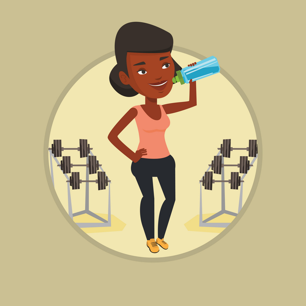 African-american sporty woman drinking water. Woman standing with bottle of water in the gym. Smiling sportswoman drinking water. Vector flat design illustration in the circle isolated on background.