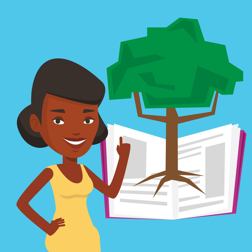 African-american student standing on the background of tree growing from open book. Cheerful student pointing at tree of knowledge. Concept of education. Vector flat design illustration. Square layout