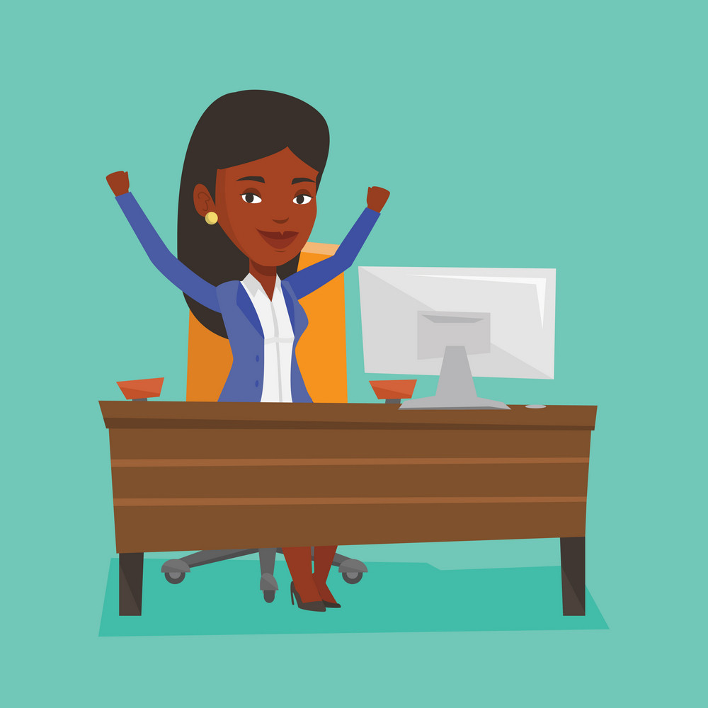 African-american successful business woman celebrating at workplace. Successful businesswoman celebrating business success. Successful business concept. Vector flat design illustration. Square layout.