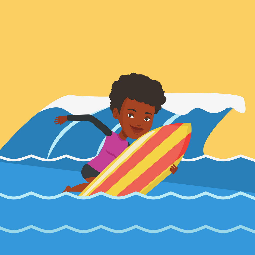 African-american surfer having fun during execution of a move on a blue ocean wave. Surfer in action on a surf board. Lifestyle and water sport concept. Vector flat design illustration. Square layout.