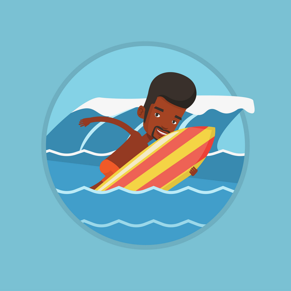 African-american surfer having fun during execution of a move on ocean wave. Surfer in action on surf board. Water sport concept. Vector flat design illustration in the circle isolated on background.