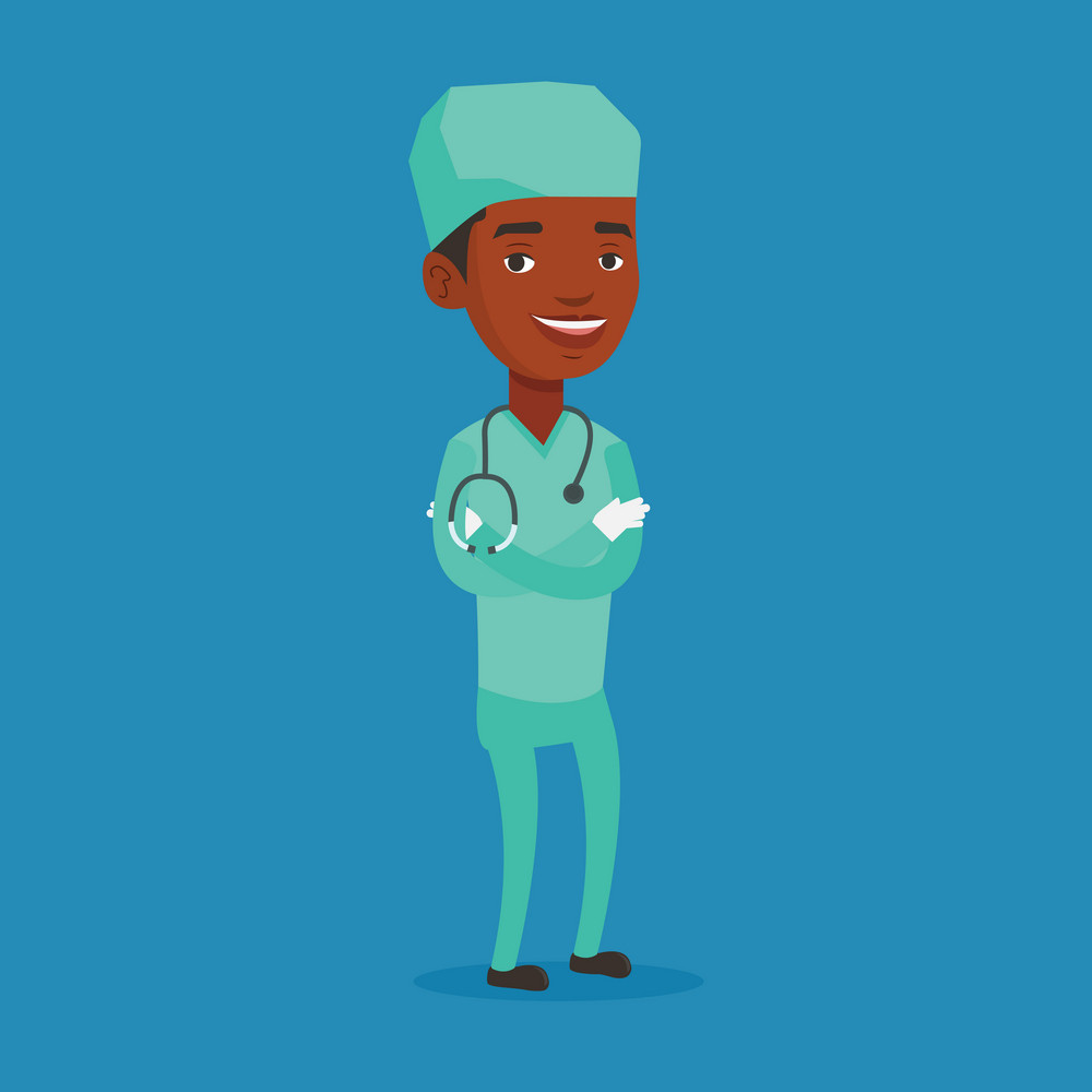 African-american surgeon standing with arms crossed. Young confident surgeon in medical uniform. Surgeon with stethoscope on his neck. Vector flat design illustration. Square layout.