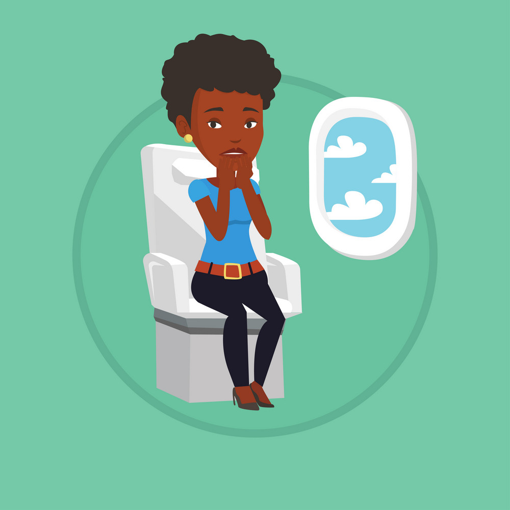 African-american terrified airplane passenger shocked by plane flight in a turbulent area. Airplane passenger frightened by flight. Vector flat design illustration in the circle isolated on background