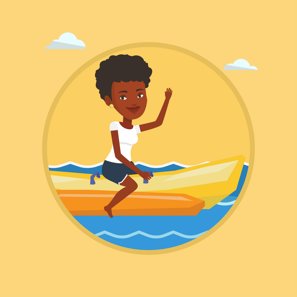 African-american tourist riding a banana boat and waving hand. Woman having fun on banana boat. Woman enjoying ride on banana boat Vector flat design illustration in the circle isolated on background.