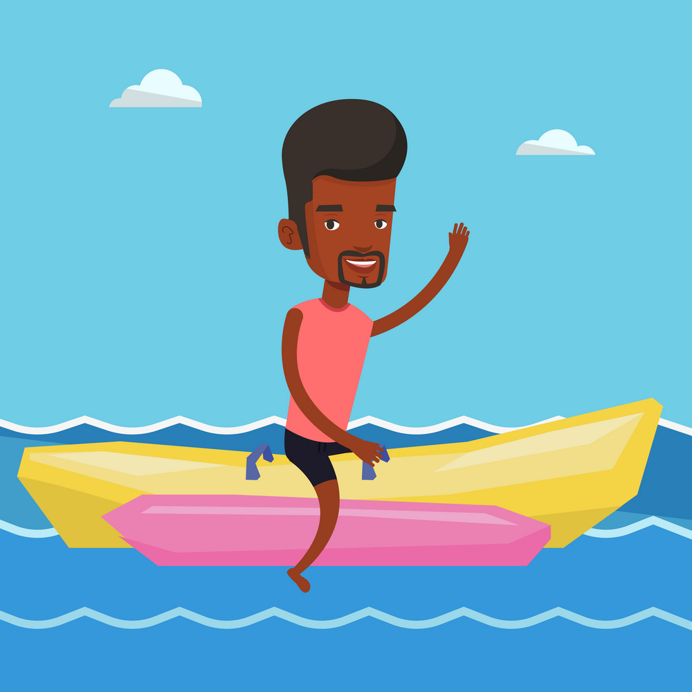 African-american tourist riding a banana boat and waving hand. Young man having fun on banana boat in the sea. Smiling man enjoying ride on banana boat. Vector flat design illustration. Square layout.