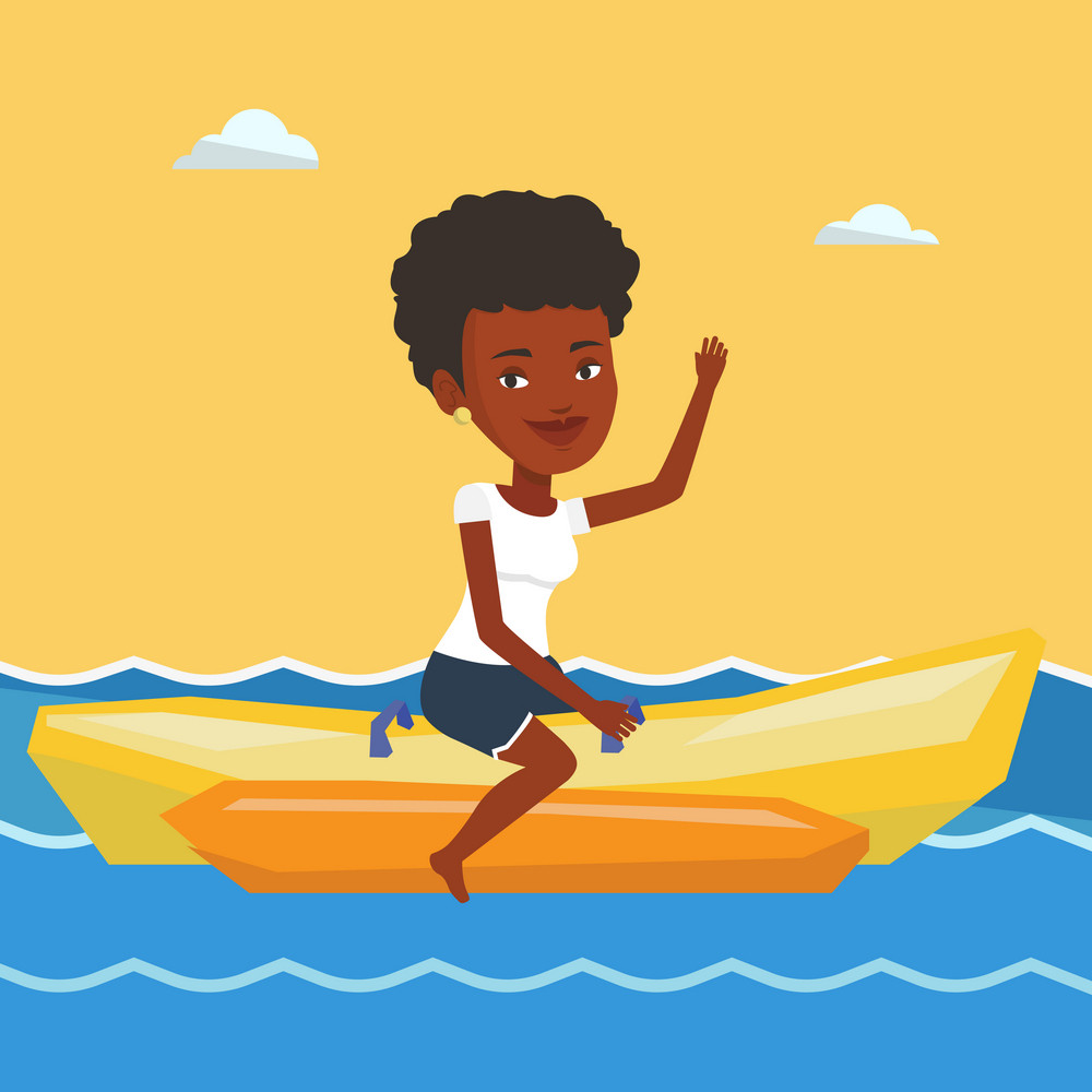 African-american tourists riding a banana boat and waving hand. Young woman having fun on banana boat in the sea. Woman enjoying the ride on banana boat. Vector flat design illustration. Square layout