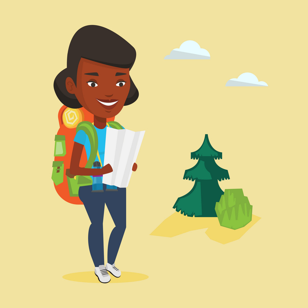 African-american traveler exploring the map. Young traveler with backpack and binoculars looking at map. Traveler searching right direction on a map. Vector flat design illustration. Square layout.