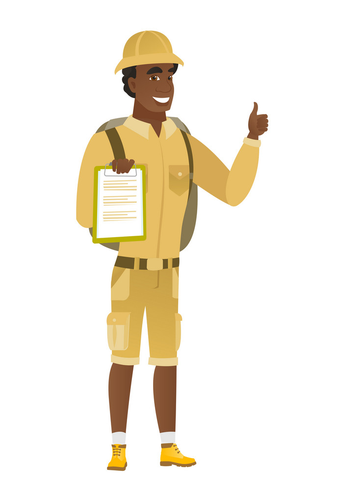 African-american traveler holding clipboard and giving thumb up. Full length of traveler with clipboard. Traveler showing clipboard. Vector flat design illustration isolated on white background.