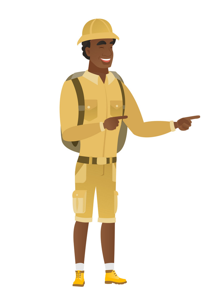 African-american traveler indicating with two fingers to the side. Full length of cheerful traveler pointing with two fingers to the side. Vector flat design illustration isolated on white background.