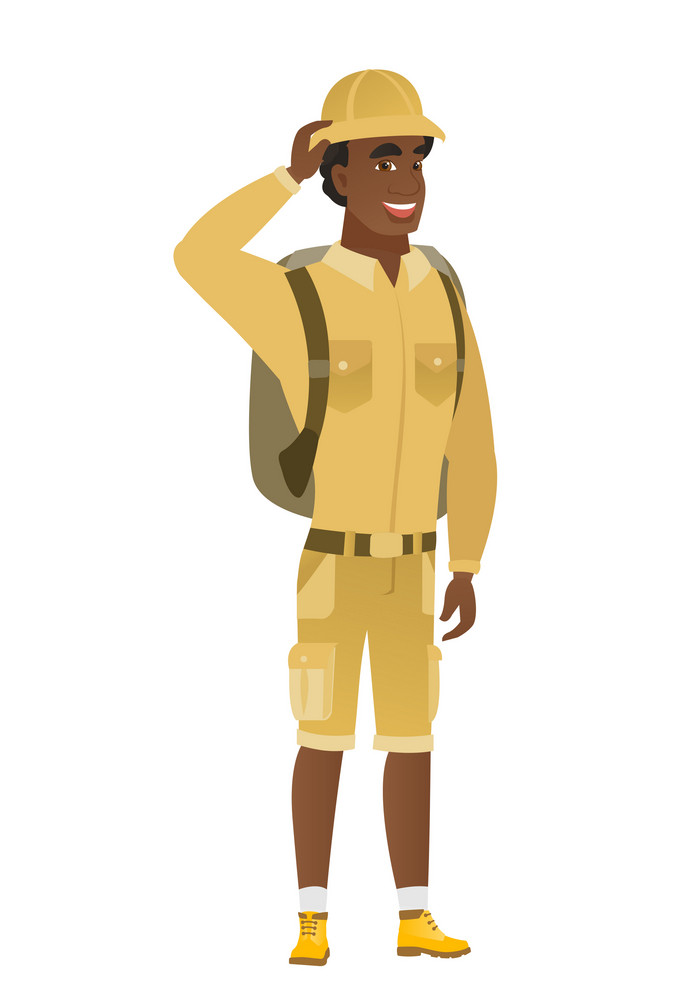 African-american traveler laughing. Cheerful traveler laughing with hands on his head. Happy traveler laughing and touching his head. Vector flat design illustration isolated on white background.