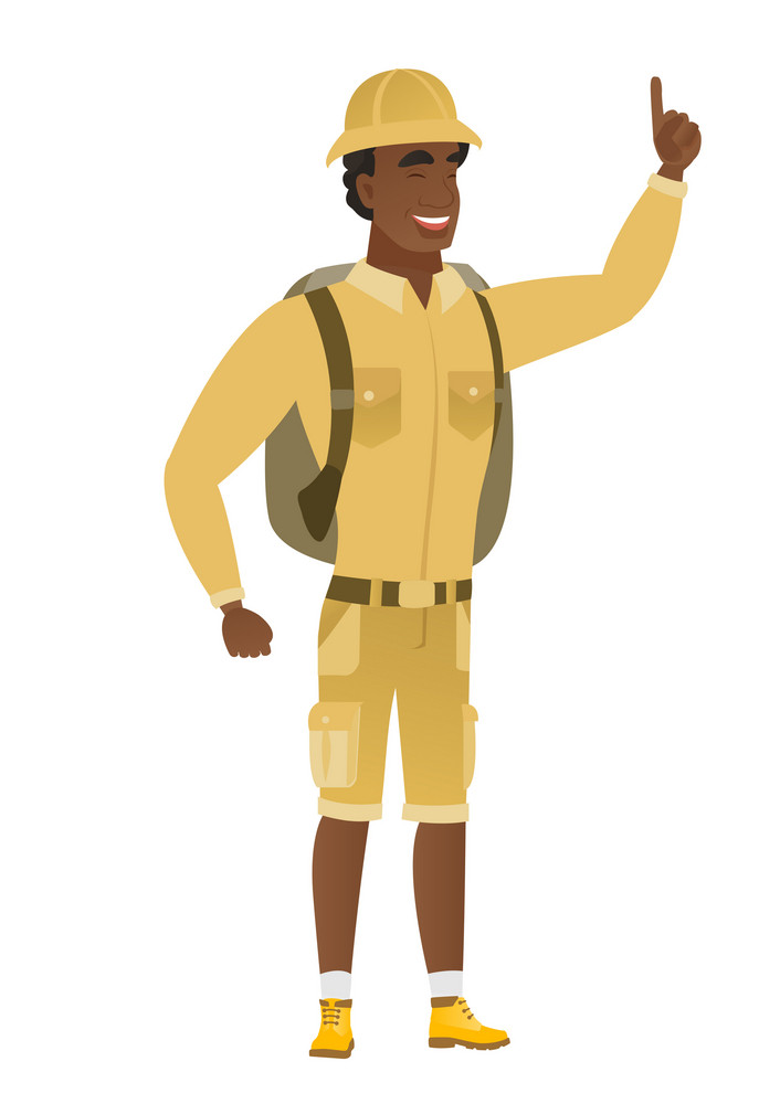 African-american traveler pointing with his finger. Full length of traveler pointing his finger up. Traveler with finger pointing up. Vector flat design illustration isolated on white background.