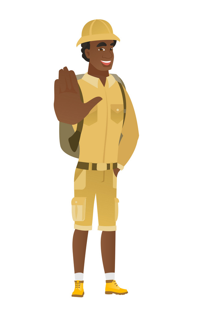 African-american traveler showing palm hand. Full length of young traveler showing palm hand. Traveler making stop gesture by his palm. Vector flat design illustration isolated on white background.