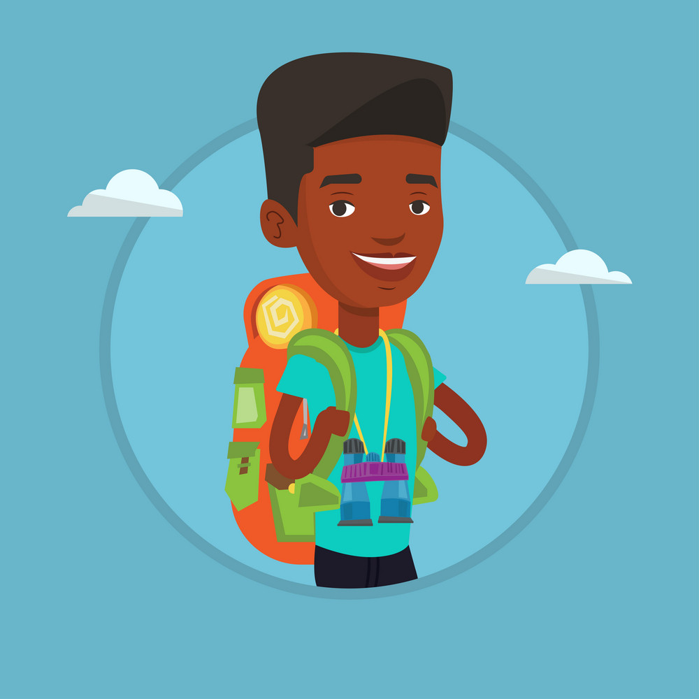 African-american traveler standing with backpack and binoculars. Traveler man enjoying recreation time. Happy traveler during trip. Vector flat design illustration in the circle isolated on background