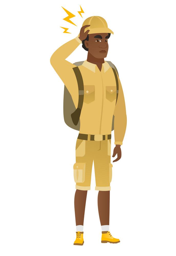 African-american traveler with lightning over head. Full length of traveler with lightning. Confident traveler standing under lightning. Vector flat design illustration isolated on white background.