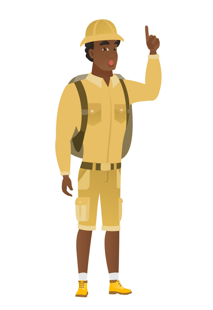 African-american traveler with open mouth pointing finger up. Full length of young traveler with open mouth came up with successful idea. Vector flat design illustration isolated on white background.