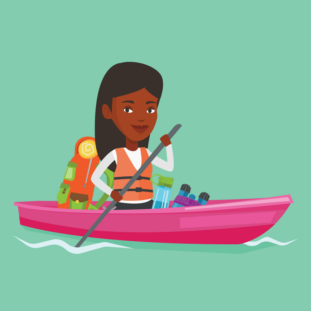 African-american traveling woman riding in a kayak on the river with skull in hands and tourist equipment behind her. Happy kayaker traveling by kayak. Vector flat design illustration. Square layout.