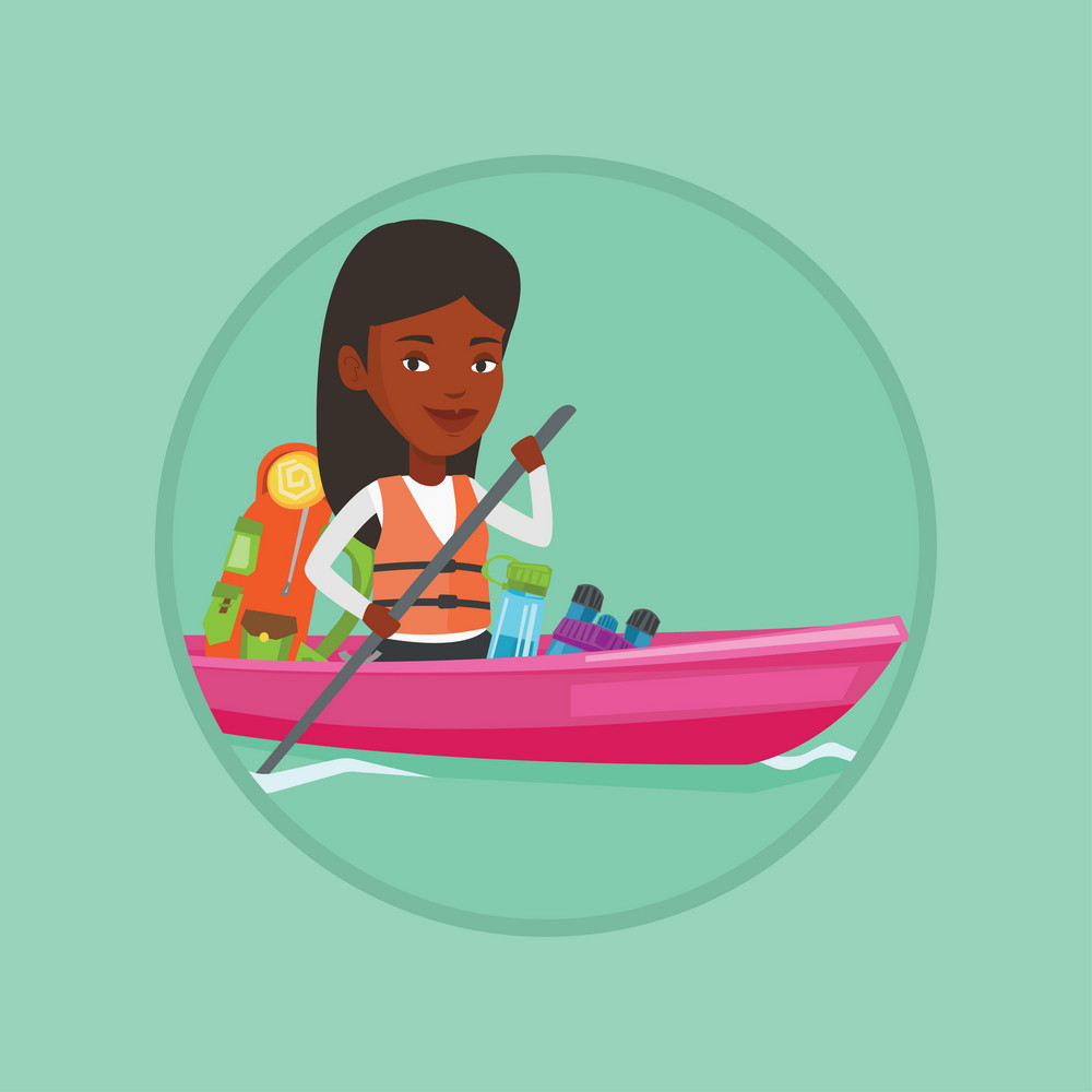 African-american traveling woman riding in a kayak on the river with skull in hands. Woman traveling by kayak during summer trip. Vector flat design illustration in the circle isolated on background.