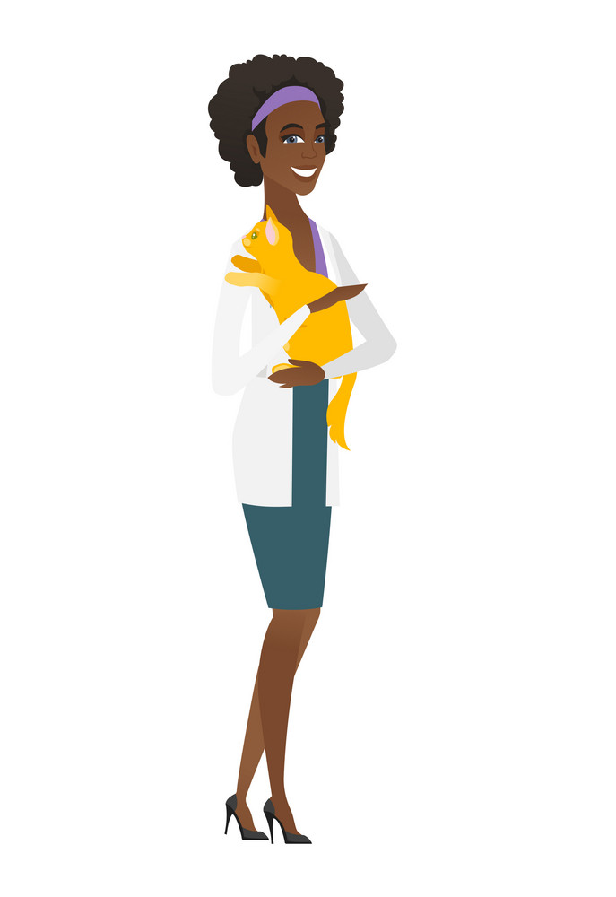 African-american veterinarian doctor holding cat. Veterinarian doctor carrying a cat. Veterinarian doctor examining cat. Pet care concept. Vector flat design illustration isolated on white background.