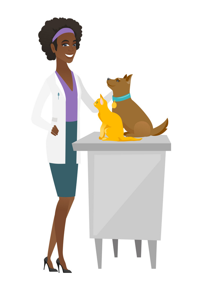 African-american veterinarian examining pets in hospital. Veterinarian doctor with pets at vet clinic. Concept of medicine and pet care. Vector flat design illustration isolated on white background.