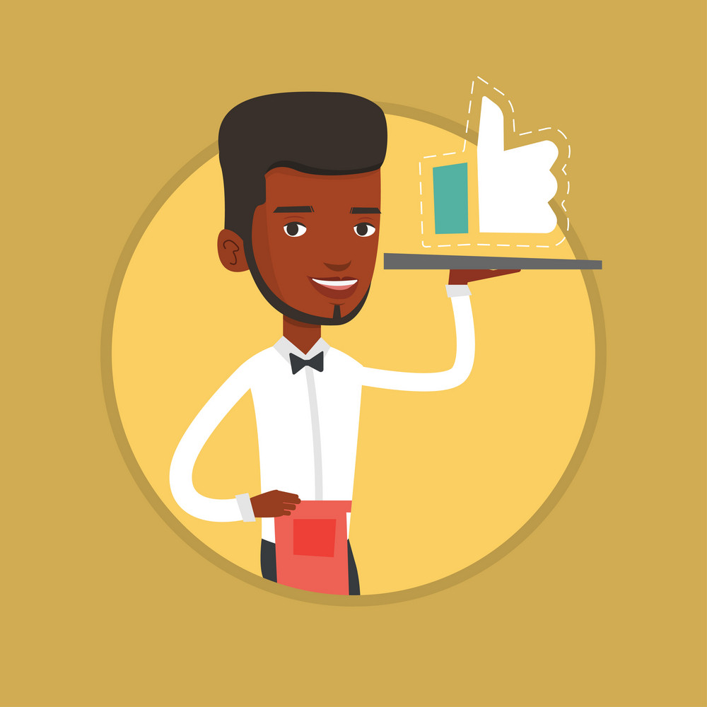 African-american waiter holding restaurant tray with social network like button. Young waiter carrying tray with like button. Vector flat design illustration in the circle isolated on background.