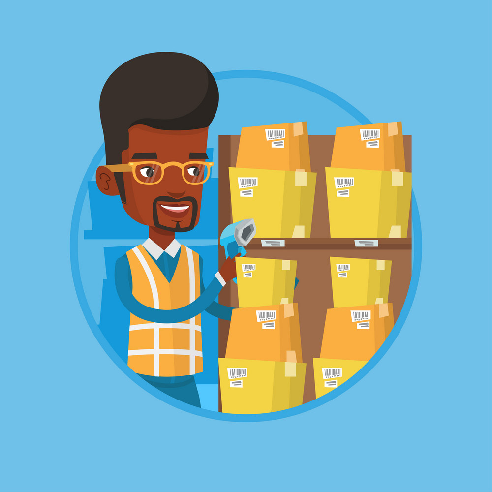 African-american warehouse worker scanning barcode on boxes with scanner. Warehouse worker checking barcode of boxes with scanner. Vector flat design illustration in the circle isolated on background.