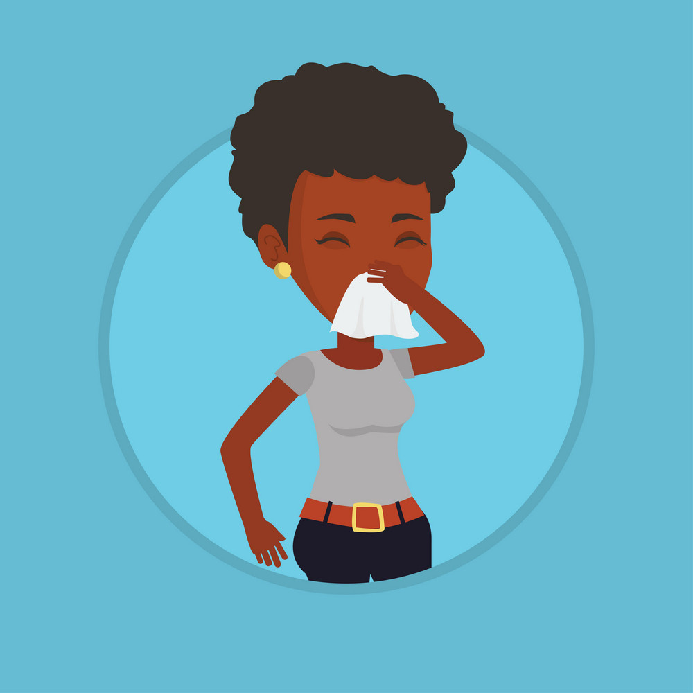 African-american woman blowing her nose to paper napkin. Sick woman sneezing. Woman having an allergy and blowing nose to a tissue. Vector flat design illustration in the circle isolated on background