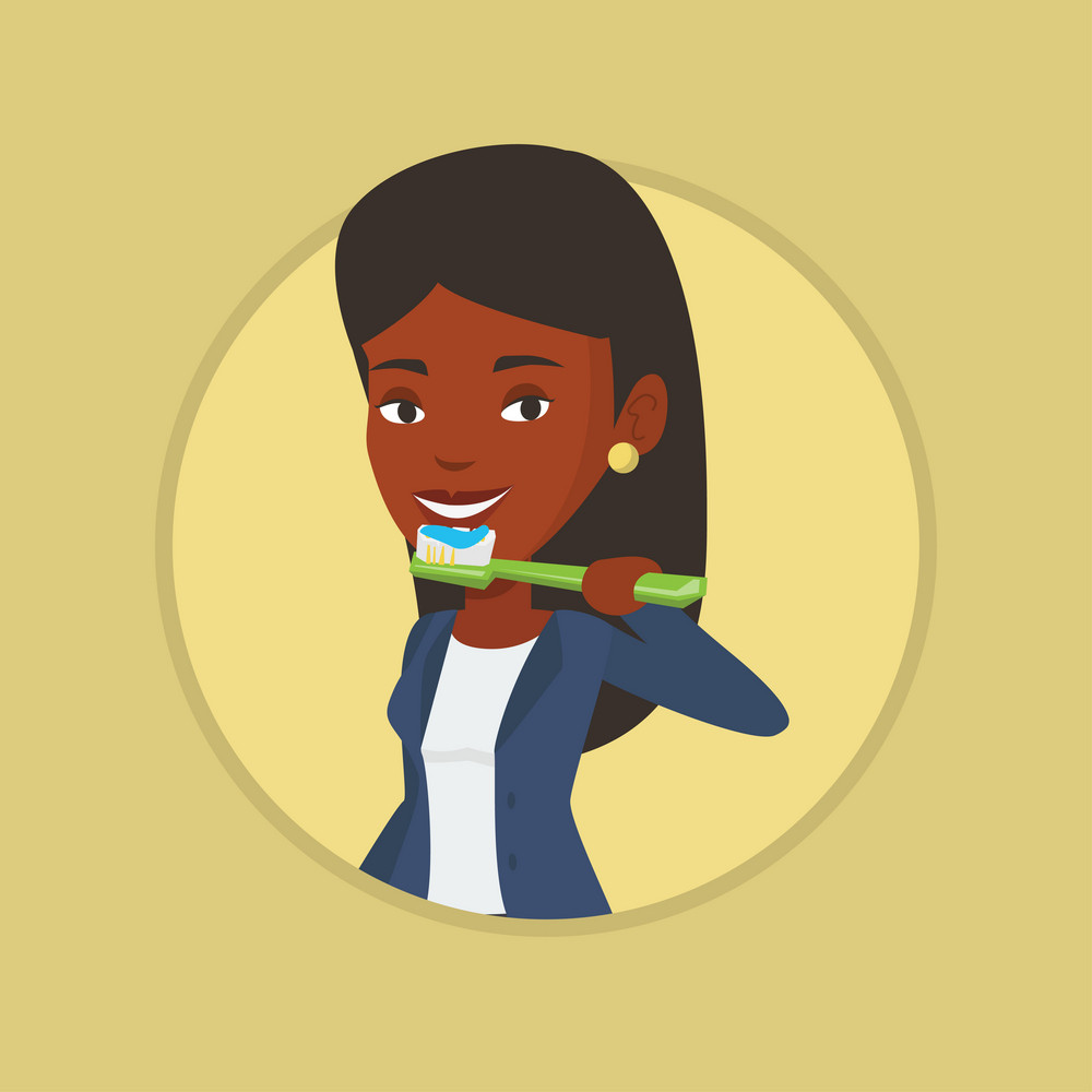 African-american woman brushing her teeth. Woman cleaning teeth. Woman taking care of her teeth. Woman with toothbrush in hand. Vector flat design illustration in the circle isolated on background.