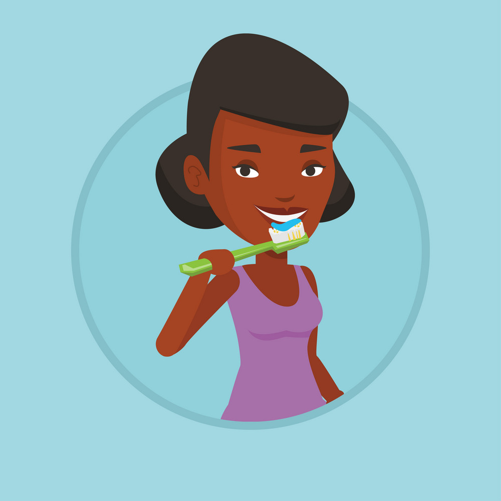 African-american woman brushing teeth. Woman cleaning teeth. Woman taking care of her teeth. Happy girl with toothbrush in hand. Vector flat design illustration in the circle isolated on background.
